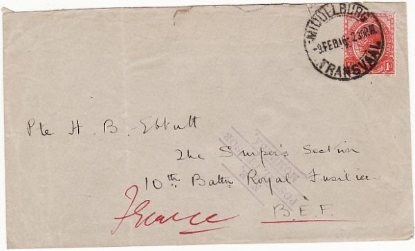 SOUTH AFRICA-FRANCE [EAST AFRICA WW1-MISSENT]