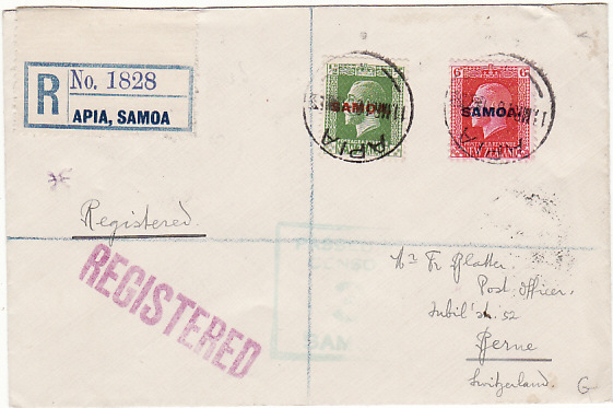 SAMOA-SWITZERLAND [WW1-DOUBLE CENSORED-REGISTERED]