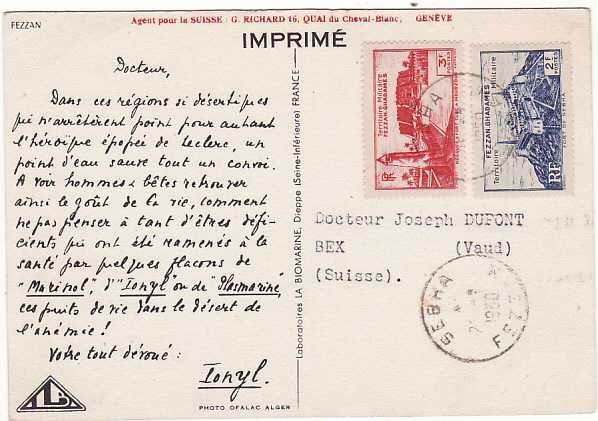 LIBYA-SWITZERLAND [FEZZAN FRENCH MILITARY ADMINISTRATION]