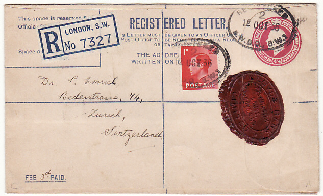 [14972]  GB-SWITZERLAND [GV & ED V111 COMBINATION-REGISTERED]  1936(Oct 12)