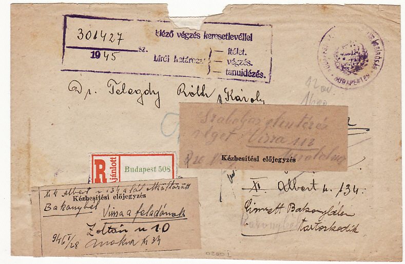 [14542]  HUNGARY [REGISTERED/INFLATION PERIOD]  1946(Jan 16)