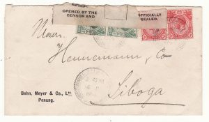 1914 STRAITS SETTLEMENTS-N.E.I...WW1 EDWARD V11 CENSOR LABEL..