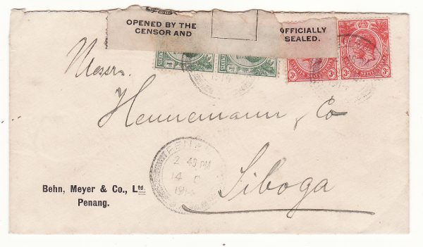 1914 STRAITS SETTLEMENTS-N.E.I...WW1 EDWARD V11 CENSOR LABEL..
