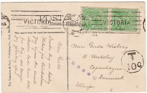AUSTRALIA-DENMARK [WW1 CENSORED/TAXED]