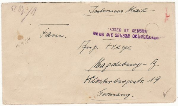 SOUTH AFRICA-GERMANY [POW MAIL]