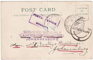 KENYA-SOUTH AFRICA [WW1 CENSOR-PARCEL RECEIPT]
