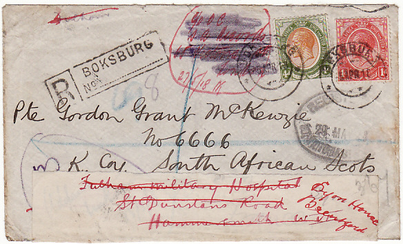 SOUTH AFRICA-GB-FRANCE-GB [WW1-REGISTERED-REDIRECTED]