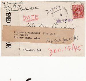 CANADA [WW2-JAPANESE CANADIAN INTERNEE/RELOCATEE-CENSORED]