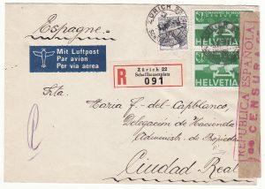1938  SWITZERLAND - SPAIN…CIVIL WAR DELEGACION DE HACIENDA...