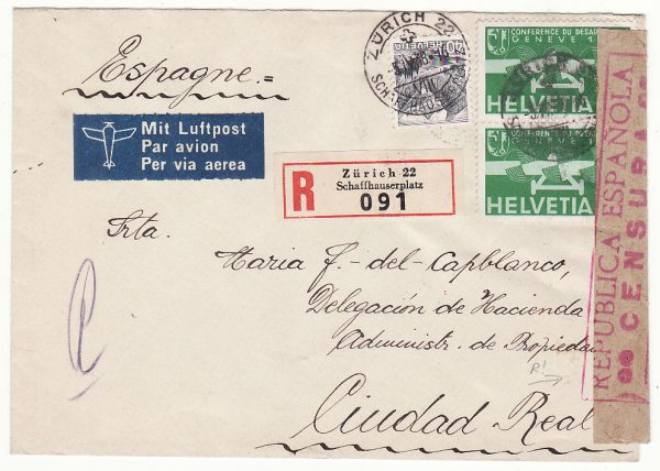 1938  SWITZERLAND - SPAIN…CIVIL WAR DELEGACION DE HACIENDA...