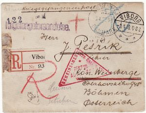 DANMARK-BOHEMIA [REGISTERED/POW MAIL WW1]