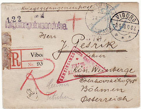[11821]  DANMARK-BOHEMIA [REGISTERED/POW MAIL WW1]  1918(Apr 9)
