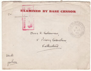 1939  GREAT BRITAIN..1940 PHONEY WAR BASE CENSORSHIP..