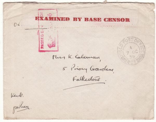1939  GREAT BRITAIN..1940 PHONEY WAR BASE CENSORSHIP..