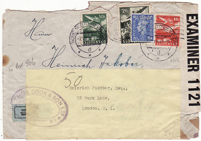 [12296]  SLOVAKIA-PORTUGAL/GB [THOS COOK PO BOX 506 UNDERCOVER MAIL]  1942(Jul 7)