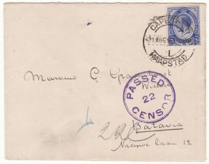 1915 SOUTH AFRICA - DUTCH EAST INDIES..WW1 CENSORED TO BATAVIA