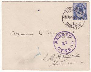 1915 SOUTH AFRICA - DUTCH EAST INDIES..WW1 CENSORED TO BATAVIA