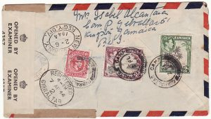 JAMAICA-GIBRALTAR [WW2-REGISTERED-AIRMAIL-GIBRALTAR CAMP]
