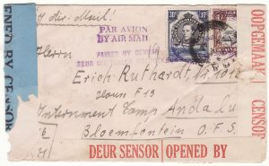 1941  TANGANYIKA - SOUTH AFRICA..CENSORS OFFICE TANGA from INTERNEE to INTERNEE…