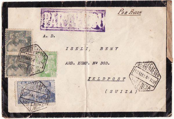 SPAIN-SWITZERLAND [WW2-AIRMAIL-CENSORED]