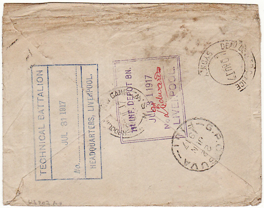 [12510]  GB-FIJI-AUSTRALIA [UNCLAIMED-DEAD LETTER]  1917(Mar 26)