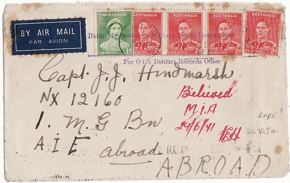 AUSTRALIA-A.I.F. ABROAD [BELIEVED M.I.A.-RETURNED BY MILITARY]