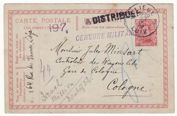 1919 BELGIUM - GERMANY..1919 to WAGONS LITS & FORWARDED to FRENCH MISSION..