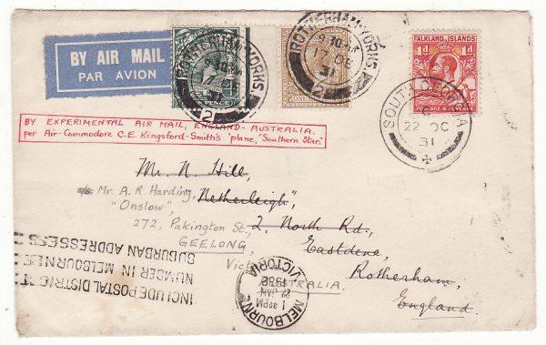 1931 FALKLAND Is - GB - AUSTRALIA……SOUTH GEORGIA BY EXPERIMENTAL AIR MAIL …