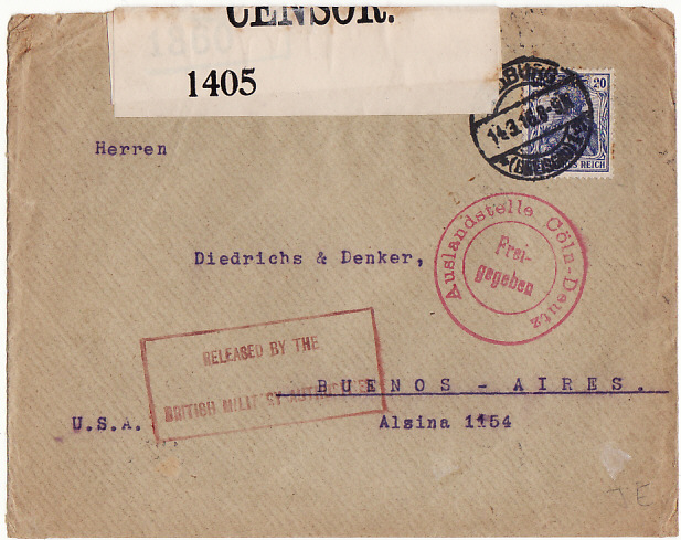 [12495]  GERMANY-ARGENTINA [INTERCEPTED & HELD BY BRITISH]  1916(Mar 14)