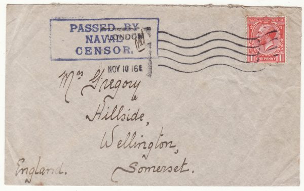 1916  GREAT BRITAIN…WW1 NAVAL MAIL  CAPE & WEST AFRICA STATION ..