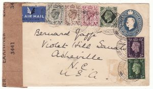 1941  GB - USA…WW2 UPRATED STATIONARY with EXPERIMENTAL INTERIM CENSOR LABEL….