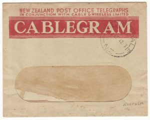 1942  NEW ZEALAND....WW2 TELEGRAM from NZ FORCES on NORFOLK ISLAND ..