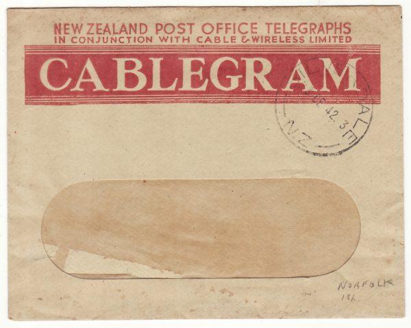 1942  NEW ZEALAND....WW2 TELEGRAM from NZ FORCES on NORFOLK ISLAND ..