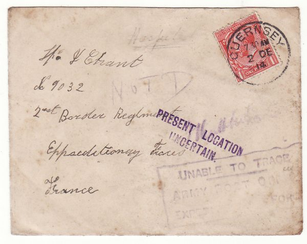 1914 GB - FRANCE…WW1 CHANNEL Is. to BRITISH FORCES UNABLE TO TRACE…