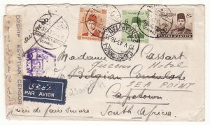 1943..EGYPT - SOUTH AFRICA …WW2 AIRMAIL to BELGIAN CONSULATE…
