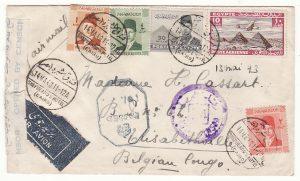1943..EGYPT - BELGIAN CONGO …WW2 AIRMAIL to BELGIAN CONGO…