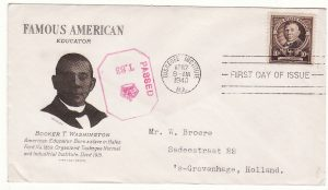 1940..USA - NETHERLANDS …FAMOUS AMERICAN on CENSORED FIRST DAY ISSUE...