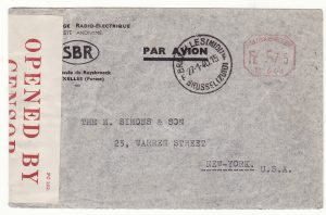 1940..BELGIUM - USA…WW2 AIRMAIL INTERCEPTED by CENSORS in BERMUDA...