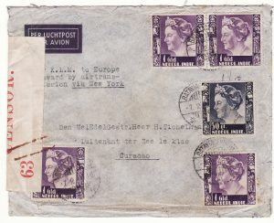 1940..NED. EAST INDIES  - NED. WEST INDIES…WW2 AIRMAIL INTERCEPTED by CENSORS in BERMUDA...