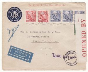 1940..SWEDEN  - USA…WW2 AIRMAIL INTERCEPTED by CENSORS in BERMUDA...