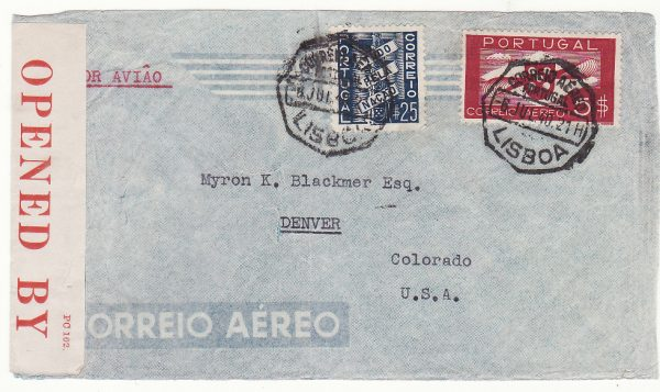 1940..PORTUGAL  - USA…WW2 AIRMAIL INTERCEPTED by CENSORS in BERMUDA...