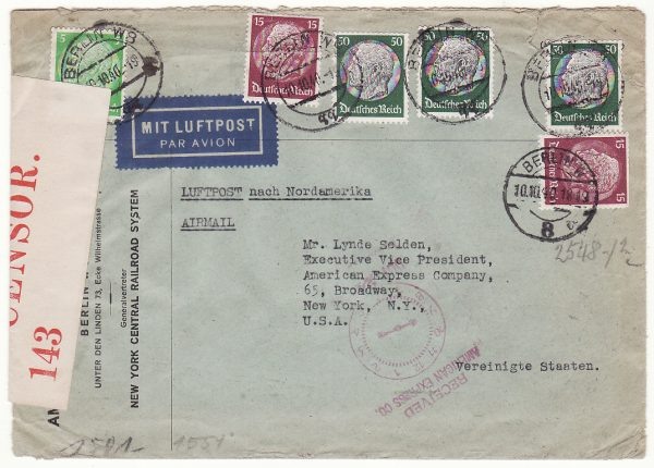 1940..GERMANY - USA..WW2 AIRMAIL INTERCEPTED by CENSORS in BERMUDA