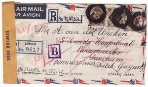 20621..GB - NED. WEST INDIES..WW2 REGISTERED AIRMAIL from FREE DUTCH UNDERCOVER ADDRESS…