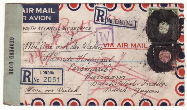 1944..GB - NED. WEST INDIES..WW2 REGISTERED AIRMAIL from FREE DUTCH UNDERCOVER ADDRESS…