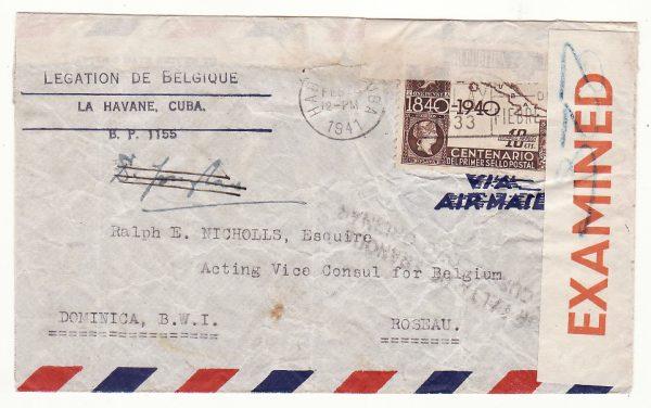 20627..CUBA - DOMINICA B.W.I….WW2 BELGIUM GOVT. in EXCILE CONSULAR MAIL..