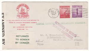 20628..USA - NETHERLANDS..WW2 RETURNED TO SENDER Due to PEARL HARBOR ATTACK…