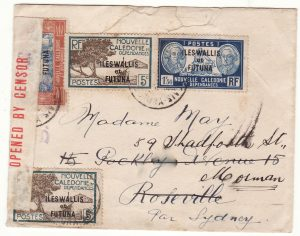 1941 New Caledonia - Australia..WW2 Wallis & Futuna Censored on Arrival