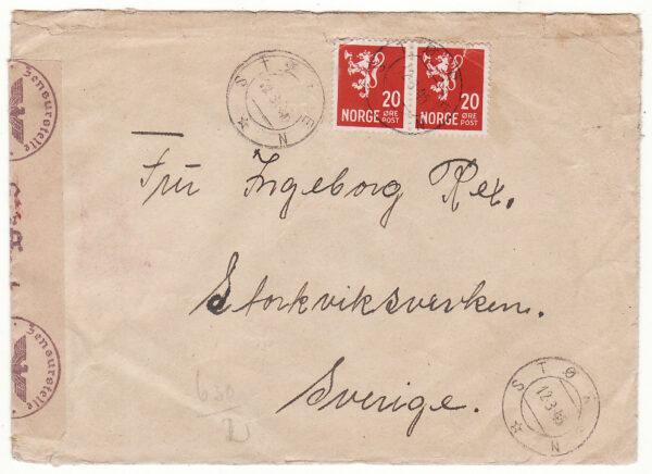 1945  NORWAY - SWEDEN..WW2 GERMAN CENSORSHIP..