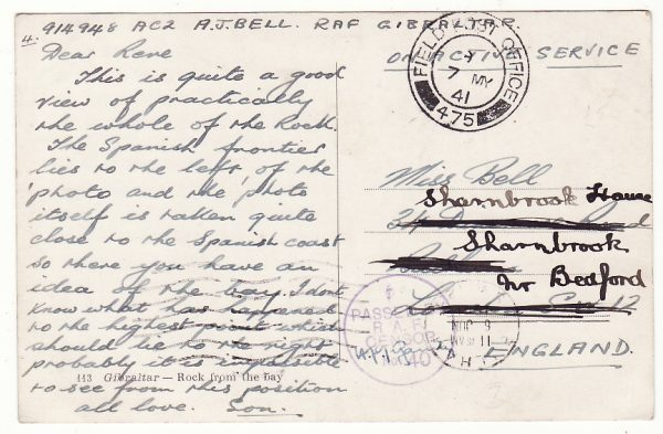 1941..GIBRALTAR - GB..WW2 RAF CENSORSHIP