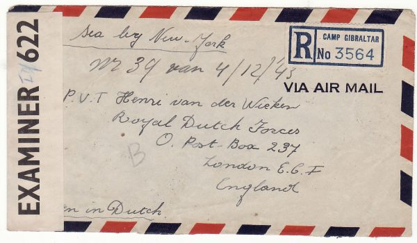 1943..JAMAICA - GB...WW2 REGISTERED CENSORED AIRMAIL GIBRALTAR CAMP EVACUEE to DUTCH FREE FORCES...